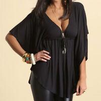 UK 8-26 Women Lace-up Elastic Waist Batwing Sleeve Deep V Neck Shirt Blouse Tops