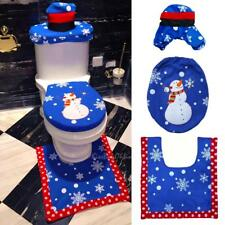 Snowman Bathroom Toilet Seat Mat Rug Pad Tank Lid Towel Cover Kit Xmas Decor#