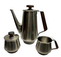 Vintage retro danish stainless teapot set Tea/coffee pot creamer sugar bowl
