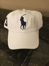 NWT POLO Ralph Lauren Men's White W/ BIG PONY BASEBALL Cap/ Hat - Adjustable
