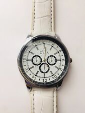 OTis Ladies Big Face White Strap Wrist Watch