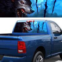 54*14 inch Transparent Car Truck Rear Window Decal Vinyl Sticker 3D Horror Wolf