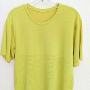 LULULEMON Men's Metal Vent Breathe Short Sleeve T-Shirt Bolt Soleil Yellow Sz.L