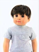 "Grey Striped Pocket Shirt Fits American Girl or Boy 18"" Doll Clothes"