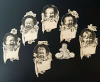 Antique Victorian Card Cut Outs Set of 7 Crying Babies
