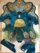 Gymboree Peacock Holloween Costume Dress Tights Hat And Feathers Size 2/3