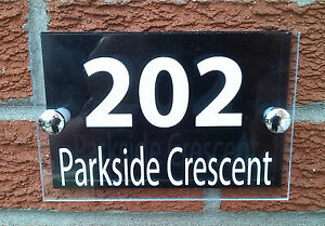 MODERN HOUSE SIGN / PLAQUE MADE WITH QUALITY ACRYLIC + BLACK ALUMINIUM BACKPLATE