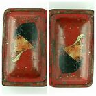 Antique Reverse 2 Face Hand Painted Folk Art Red Tin Fox Hunt ? Snuff Box