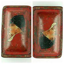 Antique Reverse 2 Face Hand Painted Folk Art Red Tin Fox Hunt ? Snuff Box