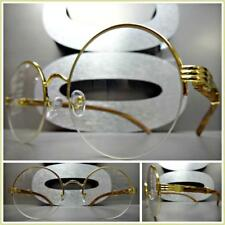 CLASSY VINTAGE RETRO Style Clear Lens EYE GLASSES Round Gold & Wood Wooden Frame