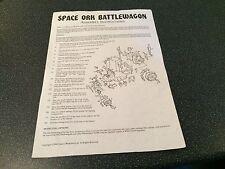Warhammer Space Ork Battlewagon Assembly Instructions Games Workshop 1990
