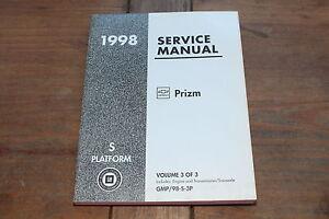 Prizm 1998 Book 3 Platform S Engine & Transmission Chevy GMC Shop Service Manual