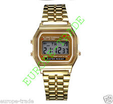 Classic Retro Vintage Style Gold Mens Ladies Digital Metal LCD Watch