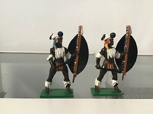 2  Zulu African warriorS Trophy of Wales Toy Soldier 54 mm toy Soldier