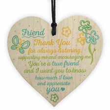 Friendship Sign Inspirational Shabby Chic Wooden Heart Plaque Friendship Gift