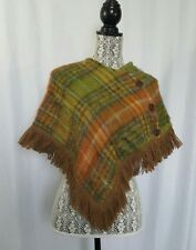 Vintage Fringe Cape Poncho Shawl Mohair Wool Plaid Rannoch Designs Green Orange