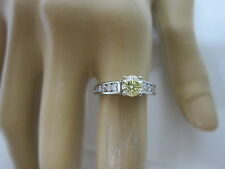 GORGEOUS ESTATE PLATINUM 1.02 CTW FANCY YELLOW DIAMOND RING !!!!!!!!!