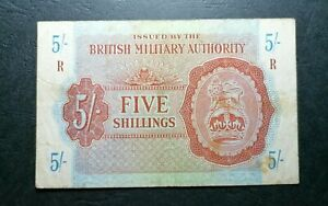 GREECE BRITISH MILITARY 1944 FIVE SHILLING F+
