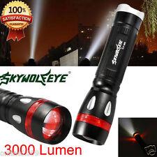 Sky Wolf Eye 3000 Lumens 3 Modes CREE XML T6 LED Flashlight Focus 18650 Torch