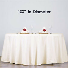 """10 pcs 120"""" Ivory Round Polyester Tablecloth Bulk for Weddings Party"""