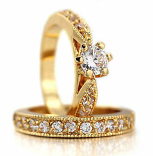 diamond Band Simulated Engagement & Wedding Ring Sets
