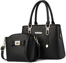 ladies Black Handbag PU Leather Shoulder Bag Large Tote Bag Handles Bag for Wome