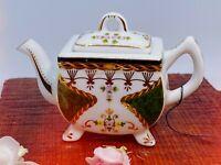 Vintage Porcelain Art Miniature Teapot Floral Design Footed