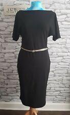 River Island black dress size 12 uk stretch fabric snake belt boat neck office