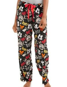 Womens Disney Mickey Mouse Soft Plush Fleece Pajama Pants Halloween Ghost Boo