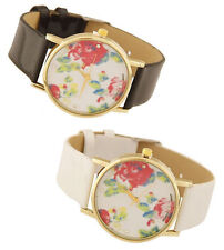 Geneva Faux Leather Strap Polished Wristwatches