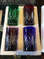 AJKA Dbl 12 Oz Rocks Old Fashion Tumbler Cased Glass Cut Clear set of 4 Hungary