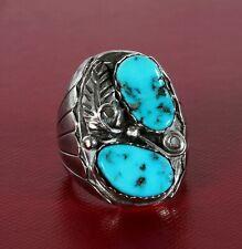 Native American Ring Turquoise Sterling Vintage Signed JWK Kessler NOS Size 9 ½