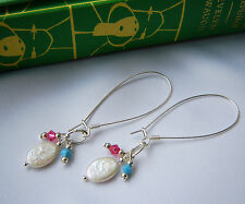 Earrings Pearl Crystal Pink Turquoise Long Drop Bride Bridesmaids New Handmade