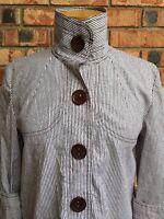 600 West Womens Size S Stripe Jacket Cuffed Sleeve Cotton Blazer Chunky Button