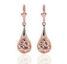 New 18K Rose Gold Plated Filigree Teardrop Lever Back Drop Dangle Earrings