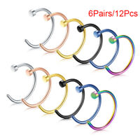 12Pcs Stainless Steel Nose Open Hoop Ring Earring Body Piercing Studs Jewelry 2h