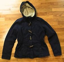 Hollister Hooded Faux Fur Lined Military Style Blue Jacket Coat Women's Size M