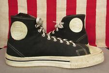 Vintage 1950s Black Canvas Basketball Sneakers High Top Athletic Shoes 9.5 Nice!