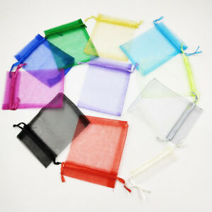 25-100pcs Luxury Organza Wedding Favour Gift Candy Bags Jewelry Pouch Party UK