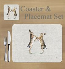Boxing hares,   placemat and coaster set    by Jane Bannon