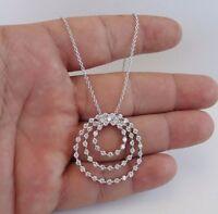 925 STERLING SILVER TRIO OPEN CIRCLE NECKLACE PENDANT W/ 2ct LAB DIAMONDS/18''
