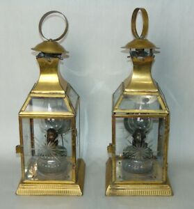 VINTAGE Brass LANTERN Oil Lamps CUT GLASS DOORS