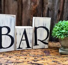 BAR SIGN BAR PUB CAFE CABIN HOME SHELF DECOR RUSTIC KITCHEN HOME WOOD BLOCKS
