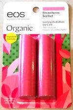 ORGANIC 2 PACK EOS Lip Balm, Strawberry Sorbet (.14 oz each) Improved Formula