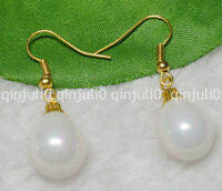 12x16mm White South Sea Shell Pearl Yellow Gold Plated Hook Dangle Earrings