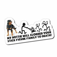 Stick Figure Family - Rottweiler Slobber Sticker / Decal - Funny Parody Dog Car