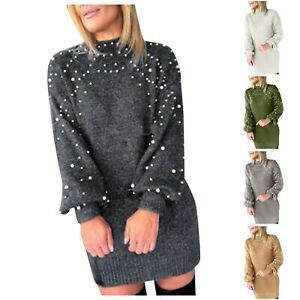 Women's New Fashion Sweater Long-Sleeved Pearl O-Neck Casual Top Blouse Tops Tee
