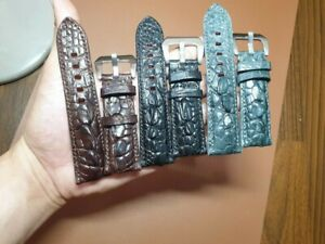 COMBO 3 BANDS 26/ 22MM  HORNBACK CROCODILE LEATHER-SKIN-WATCH-STRAP-BAND FOR PAM