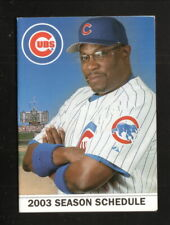 Chicago Cubs--Dusty Baker--2003 Pocket Schedule--Fox Sports Net