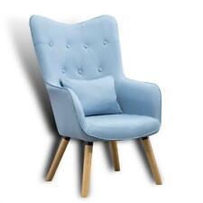 Fernsehsessel Relaxsessel Sessel mit Kissen Lese Stoff Polsterstuhl Blau